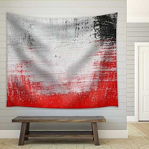 Stroke of a Brush with White Black and Red Paint on a Dusty Metal Fence Textured Abstract Background Close Up Fabric Wall