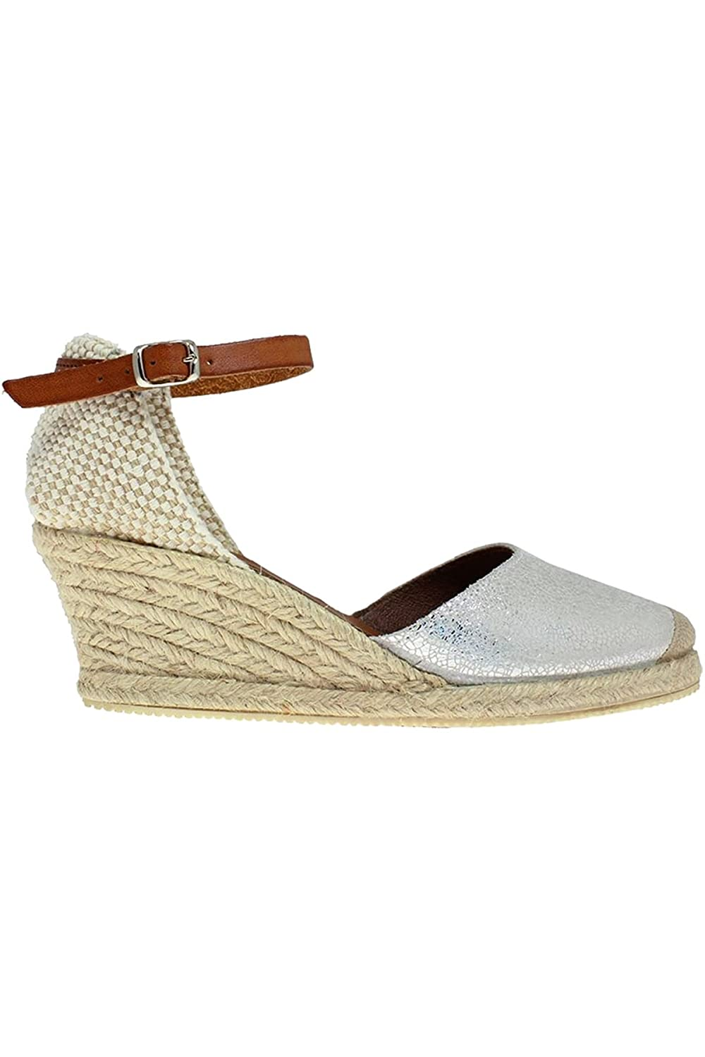 Sapphire Boutique by Sapphire JLN066 Antony Ladies Leather Metallic Ankle  Strap Comfortable Espadrille Wedges [Silver, UK 7]: Amazon.co.uk: Shoes &  Bags