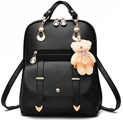 825a38193a40 Fashion Girl s Women Synthetic Leather School Shoulder Bag Backpack Travel  Rucksack Purse With Adorable Bear ... (Black)  Amazon.co.uk  DIY   Tools
