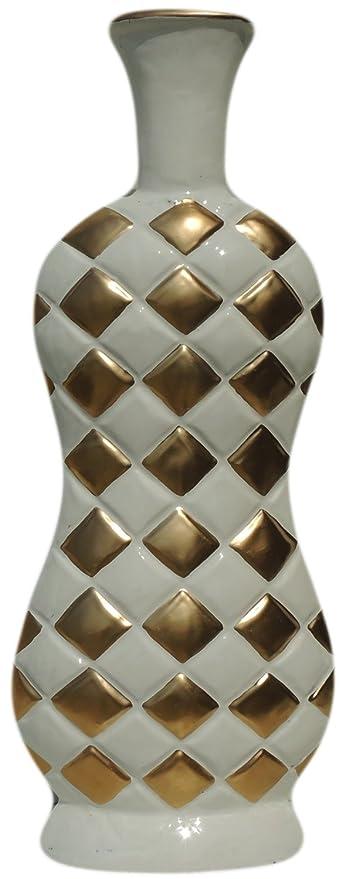Amazon Brass Gift Center Aluminium Flower Vase With White And