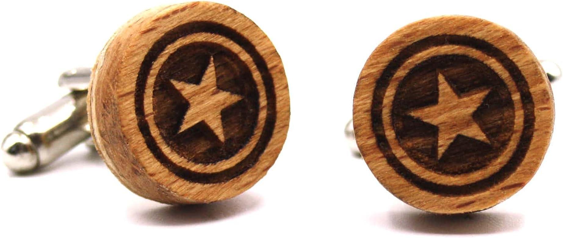 Gemelos de madera Magic Star. Colección de moda hombre: Gemelos originales de haya para camisa, hechos a mano en España. Línea boda y eventos. Diseño con grabado de estrella. Regalo elegante: Amazon.es: