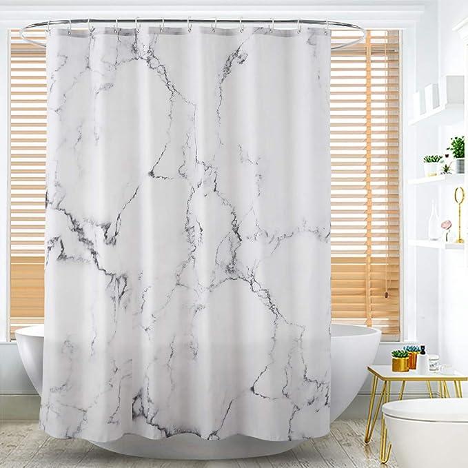 poliestere 120 x 180 cm dimensioni 120 cm x 180 cm con orlo rinforzato marmo Alumuk Tenda da doccia in tessuto in tessuto lavabile impermeabile