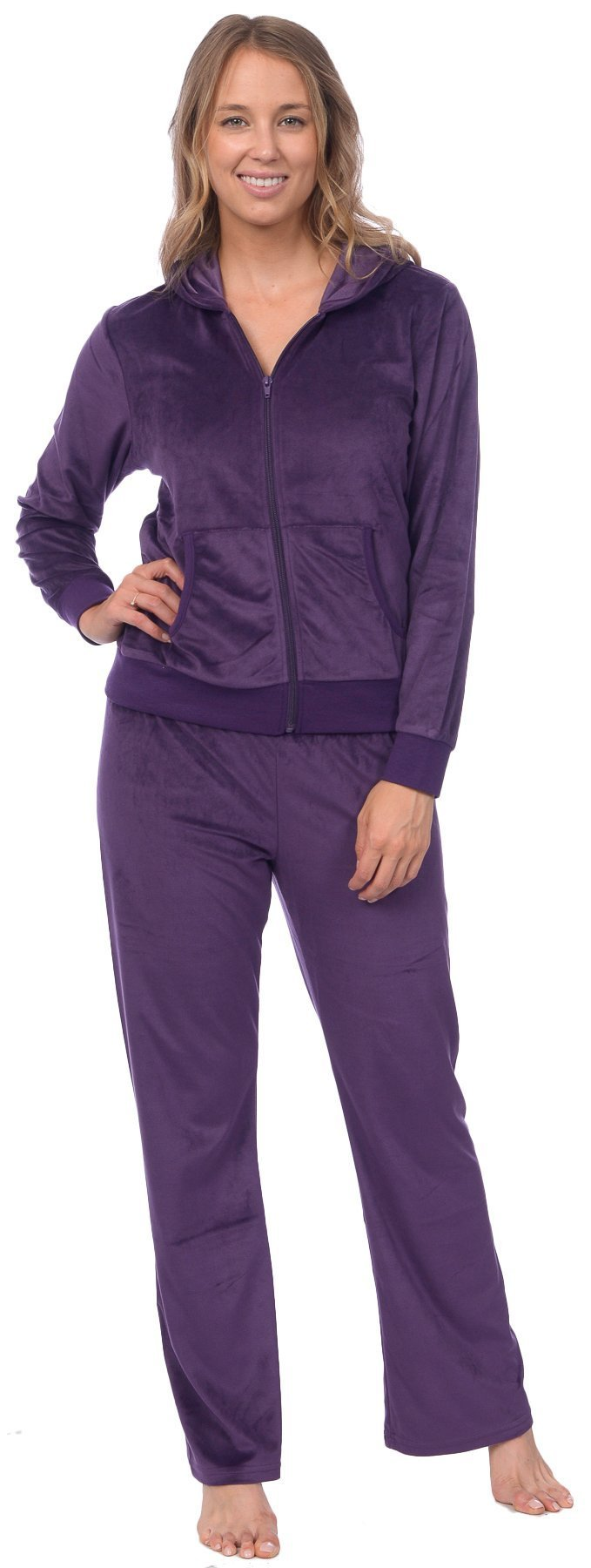Pink Lady Womens Soft Velour Zip Hoodie and Bottoms Lounge Tracksuit (Crown Jewel, L)
