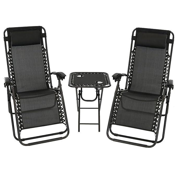 Amazon.com: Juego de 3 piezas: 2 sillas gravedad cero y mesa ...