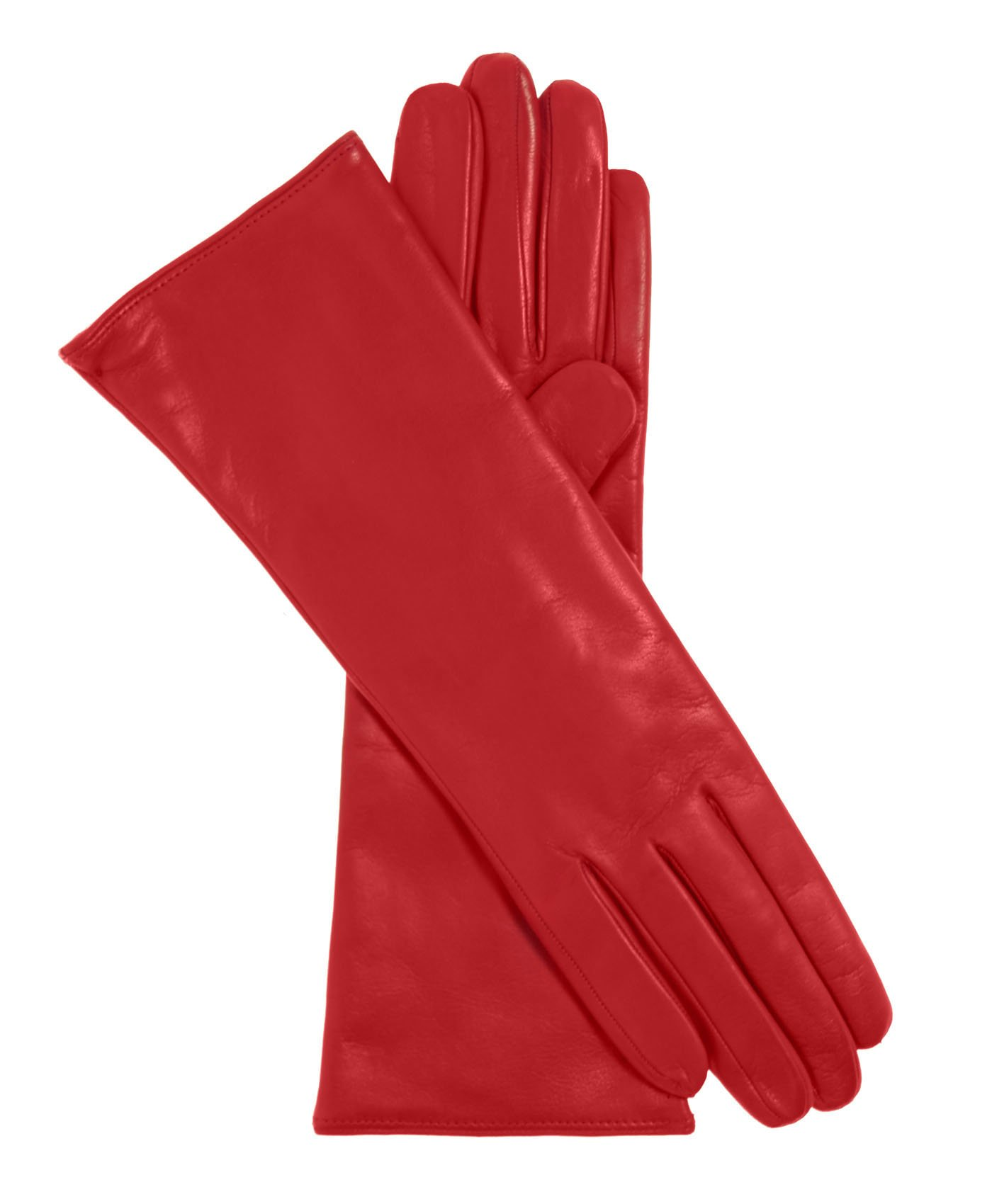 Fratelli Orsini Women's Italian ''4 Button Length'' Cashmere Lined Leather Gloves Size 8 Color Red by Fratelli Orsini