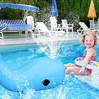 Wonderful Industry ltd Inflatable Blue Whale Sprinkler, Kids Water Toy, Summer Outdoor Sprinkler, Perfect for Swimming Pool, Party, Over 3 Feet Length: Toys & Games