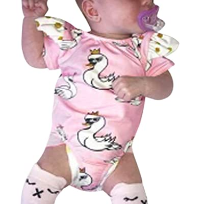 Romper Playsuit For Newborn Infant Baby Girls, Cartoon Swan Romper Playsuit Ruffles Outfits Clothes