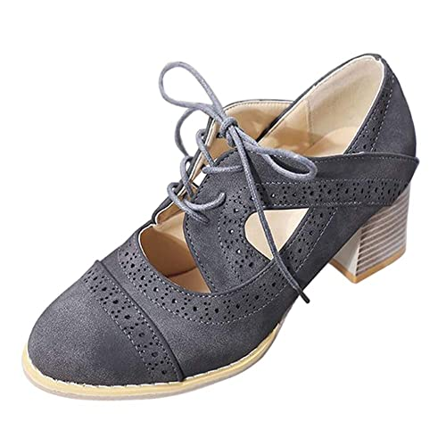 Gtagain Encaje Tacones Altos - Mujer Clásico Cabeza Redonda Boca Zapatillas Tacon Cuadrado Se Rompió los Zapatos Moda Vestido Vaqueros Estilo Británico: ...