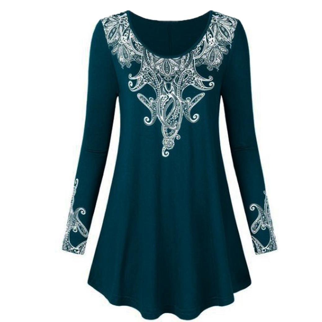 Minisoya Women Long Sleeve Vintage Floral Long Tops Pullover Loose Draped Pleated Tunic T-Shirt Plus Size Blouse (Dark Blue, XXXXX-Large)