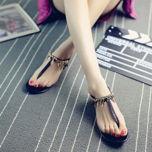 women's version shoes Rome sandals XIAOGEGE Korean legs summer toe New shoes Black shoes beach PqZpE1