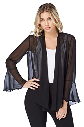 dee55347d51d7 Roman Originals Women s Flute Sleeve Chiffon Bolero - Ladies Cover Up for Dresses  Jacket Going Out