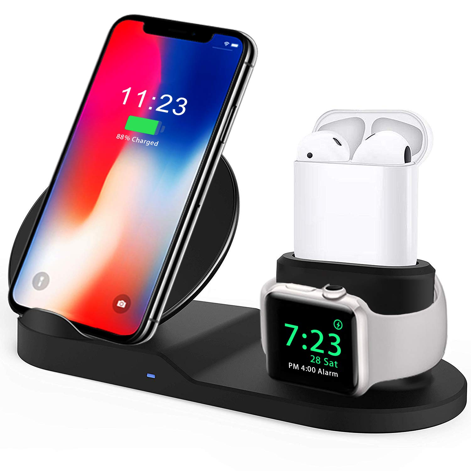 Wireless Charger, Compatible iph one Charger, 3-in-1 Replacement Charging Station for iph one Xs/X Max/XR/X/8/8Plus/Watch (Black)