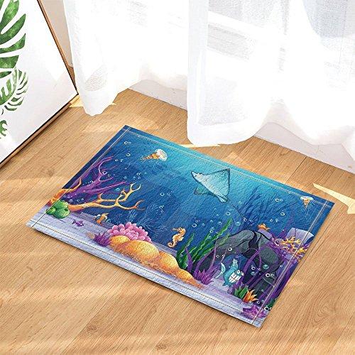 HiSoho Kids Decor Underwater World with a Funny Fish and Fish Ramp in OceanBath Rugs Non-Slip Doormat Floor Entryways Indoor Front Door Mat Kids Bath Mat 15.7x23.6in Bathroom Accessories -