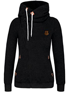 FANTIGO Womens Oblique Zipper Hoodie Sweatshirt Slim Fit Coat