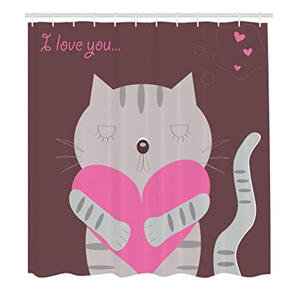 Romantic Shower Curtain Loving Cat Hugging A Giant Valentines Heart I Love You Quote Greyscale