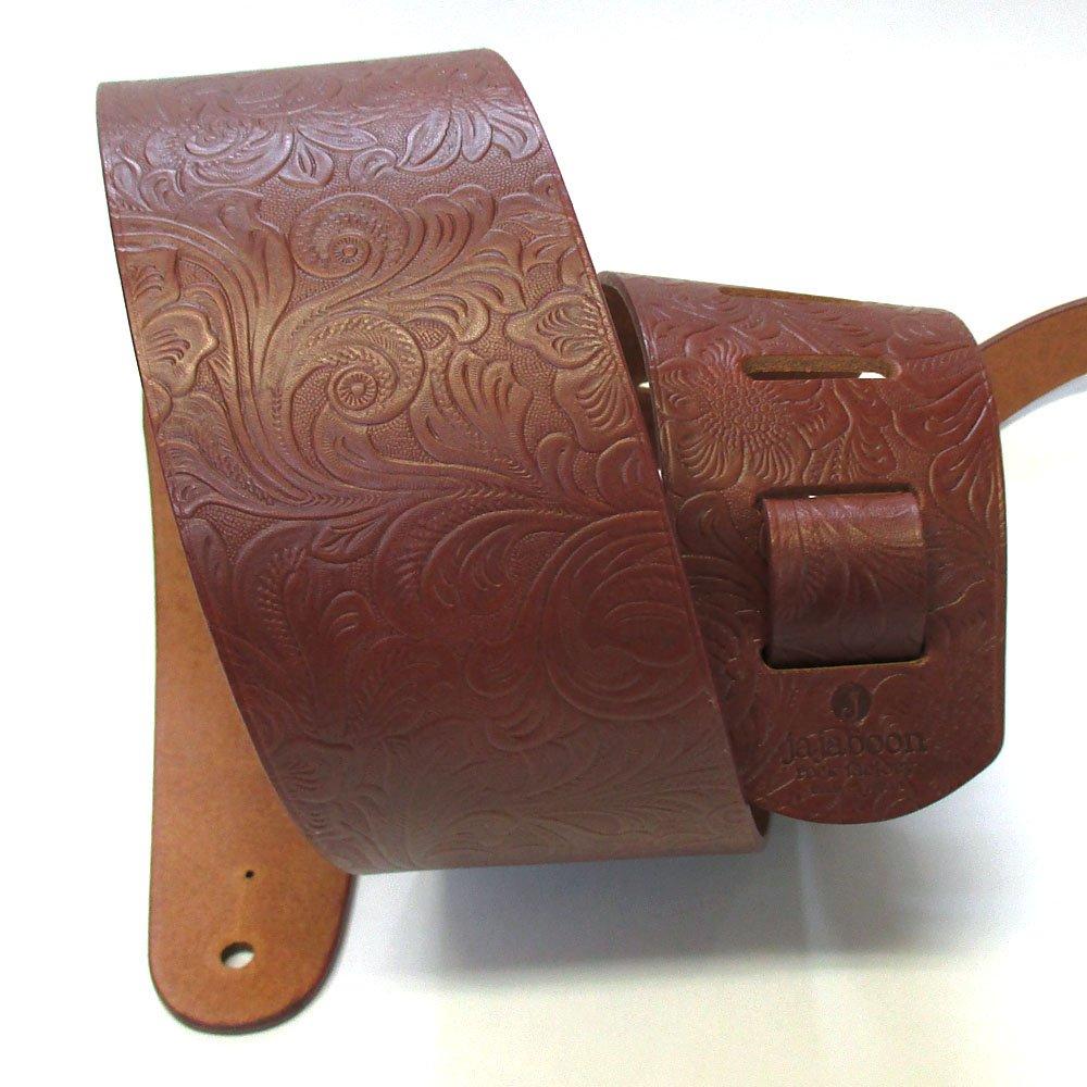 JAJABOON 本革 ギターストラップ 78mm 幅 茶色 アラベスク 牛革(レザー)製   B014P67W3M