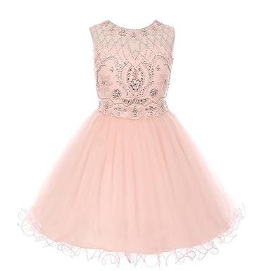 aec58c3b1 Amazon.com  Cinderella Couture Little Girls Blush Pink Beaded Satin ...