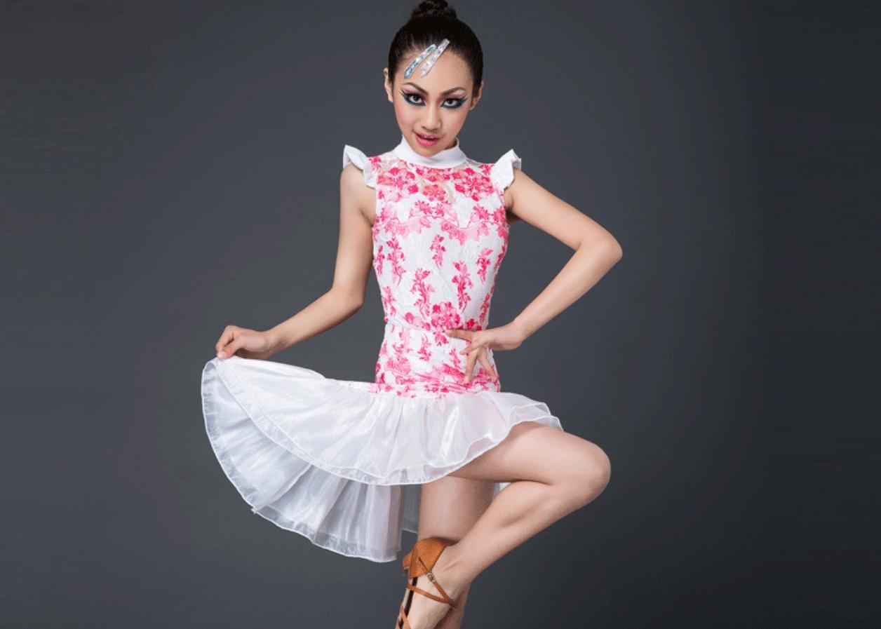 Rouge Jupe de Danse Latine pour Enfants Costumes pour Enfants Just Dance Clothing Match Gaze Costume Deux pièces 160cm