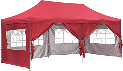 Outdoor Basic 10×20 Ft Wedding Party Canopy Tent Pop up Instant Gazebo with Removable Sidewalls and Windows Red