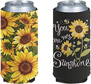 BIGCARJOB Cute Sunflower 2 Blank Beer Can Coolers, Plain Bulk Collapsible Soda Cover Coolies, DIY Personalized Sublimation Sleeves for Weddings, Party