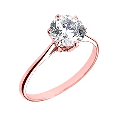 10k Rose Gold Round CZ Elegant Solitaire Engagement Ring