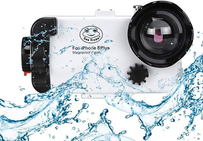 Custodia subacquea impermeabile per iPhone 8 Plus, 195FT / 60M Nuoto Surfing Custodia protettiva per lo snorkeling con lente a cupola grandangolare ...