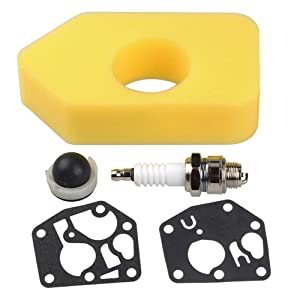 HIPA 698369 Air Filter + 495770 795083 Gasket Diaphragm 694394 494408 Primer Bulb for Briggs & Stratton 3.5-4.5 HP Classic Sprint Quattro Engine