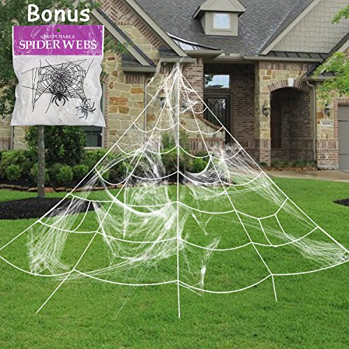 Pawliss Giant Spider Web with Super Stretch Cobweb Set, Halloween Decor Decorations Outdoor Yard, White, 16 (Fun And Easy Halloween Decorations)