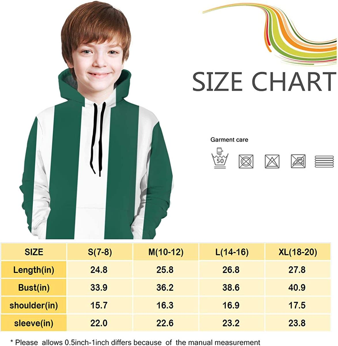 Ts Home Art Green and White Lines Boys Hooded Sweate Pullover Drawstring Pocket Casual Coat for Kid