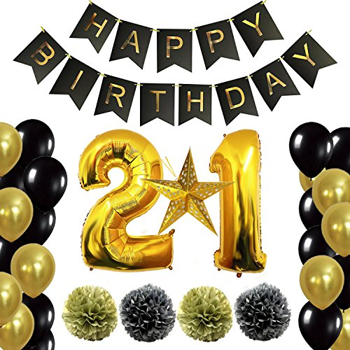 12th or 21st Birthday Decorations Party Supplies Happy Birthday Banner, Giant 40'' Number 1 Foil Balloon, Laser Paper Star, Pom Poms Gold and Black, Free Inflator and Glue Dots (21) (Balloon Time Foil 18')
