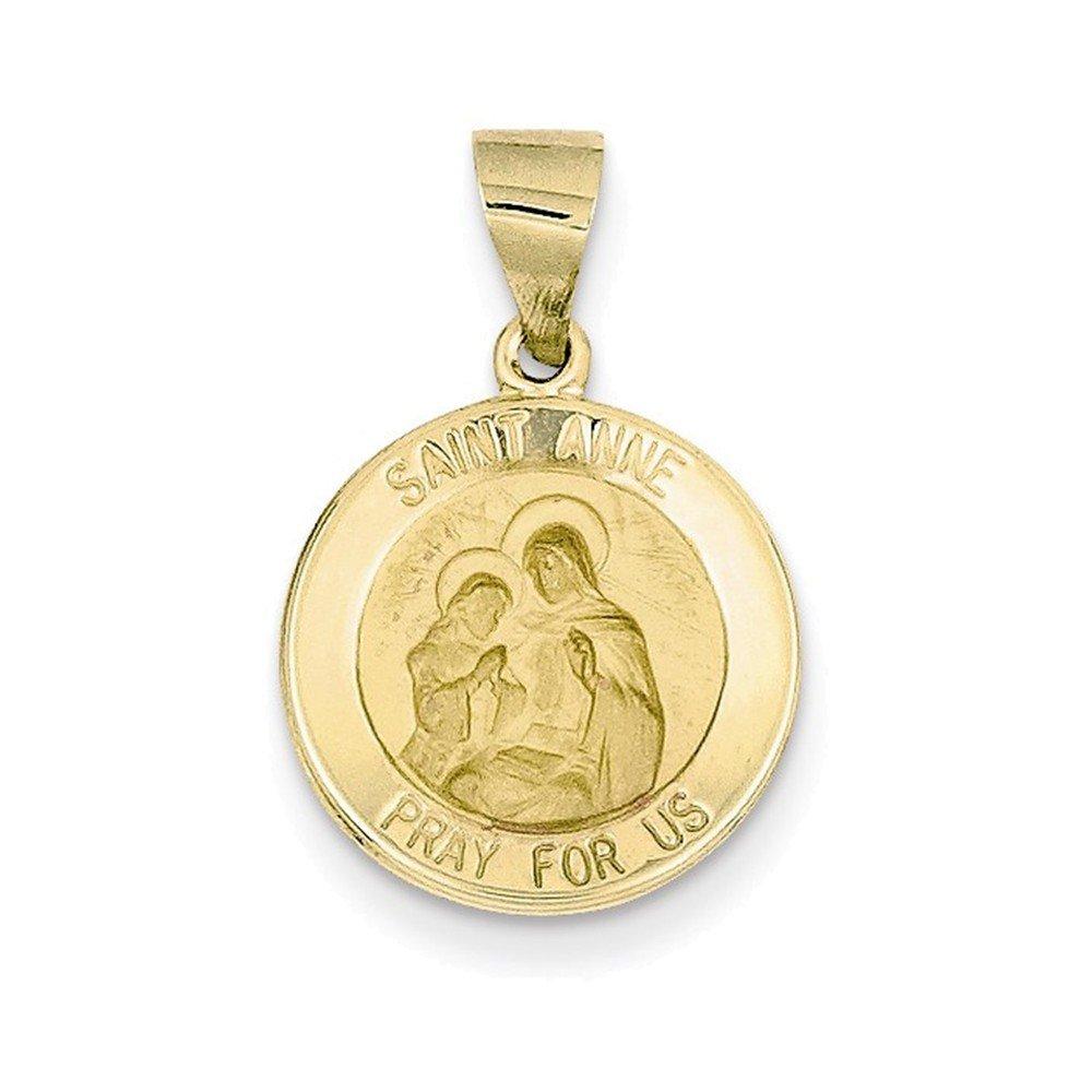 14k Polished and Satin St. Anne Medal Pendant