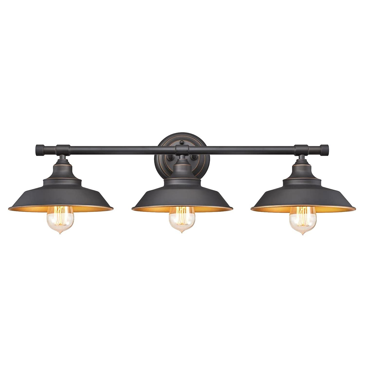 Com Westinghouse 6344900 Iron Hill Three Light Indoor Wall Fixture Oil Rubbed Bronze Finish With Highlights Industrial
