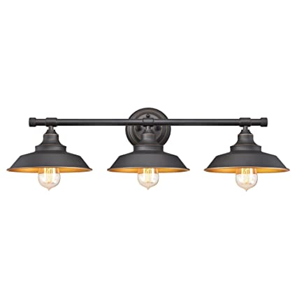 Westinghouse lighting 6344900 industrial iron hill three light indoor wall fixture oil rubbed bronze finish