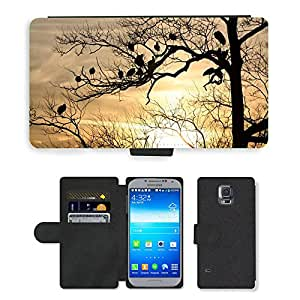 Super Stella Cell Phone Card Slot PU Leather Wallet Case // M00106110 Silhouette Tree Birds Dusk Sunset // Samsung Galaxy S5 S V SV i9600 (Not Fits S5 ACTIVE)