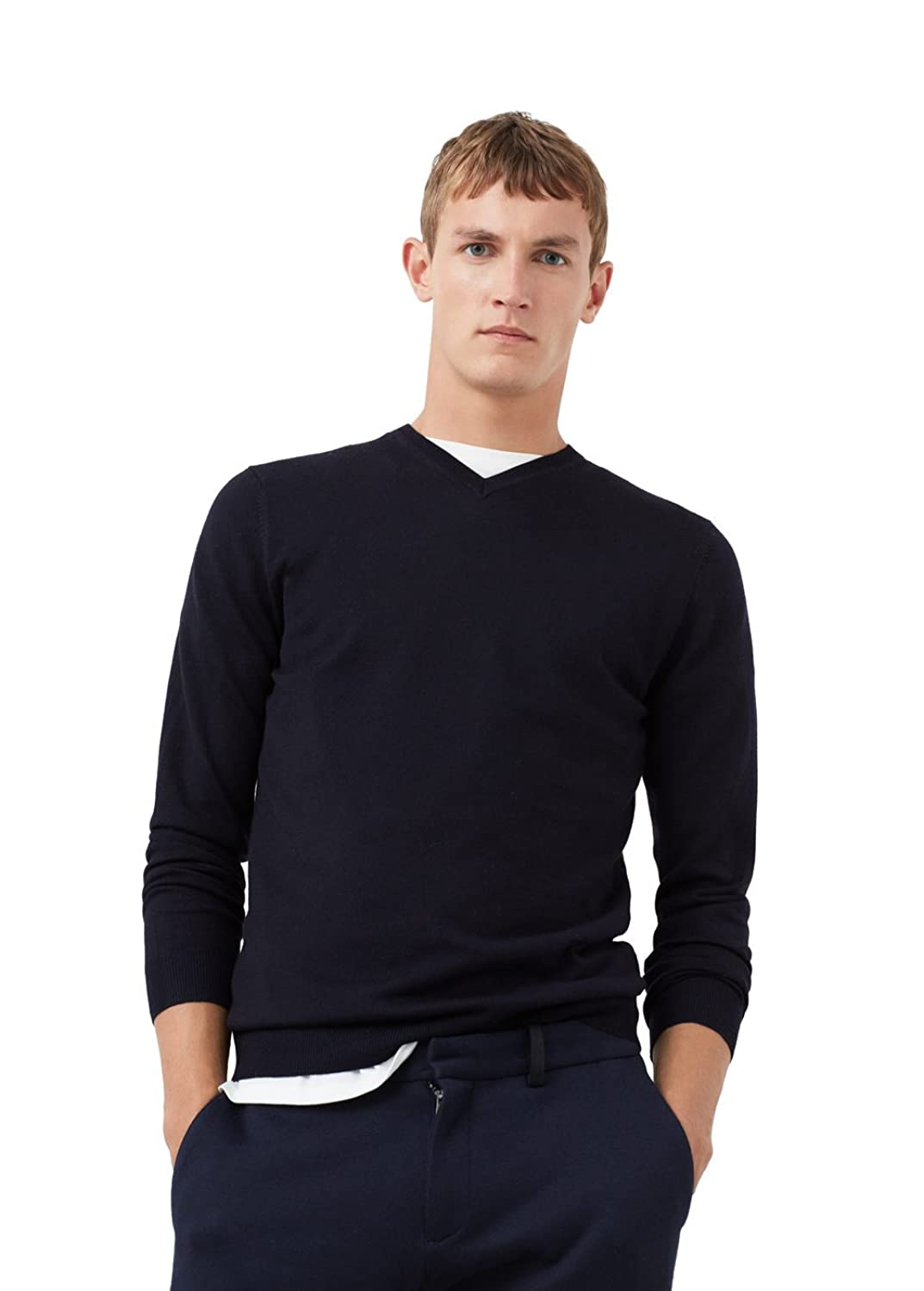MANGO MAN - V-neck wool sweater - Size:L - Color:Dark Navy