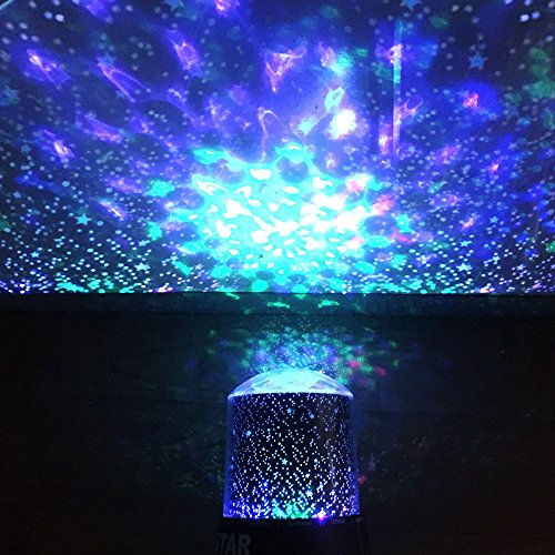 Night Light Projector Lamp, DIGOO DG-SNL Colorful Cosmos&Star 2-in-1 Pattern Party Light with 360 Degree Rotation, 4 Led Bead 4 Lighting Color Change for Woman/Kids/Baby/Children Party,Bedroom (Night Light Stars)