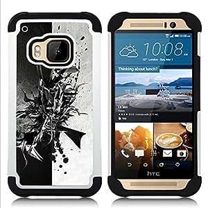 GIFT CHOICE / Defensor Cubierta de protección completa Flexible TPU Silicona + Duro PC Estuche protector Cáscara Funda Caso / Combo Case for HTC ONE M9 // Black & White Abstract //