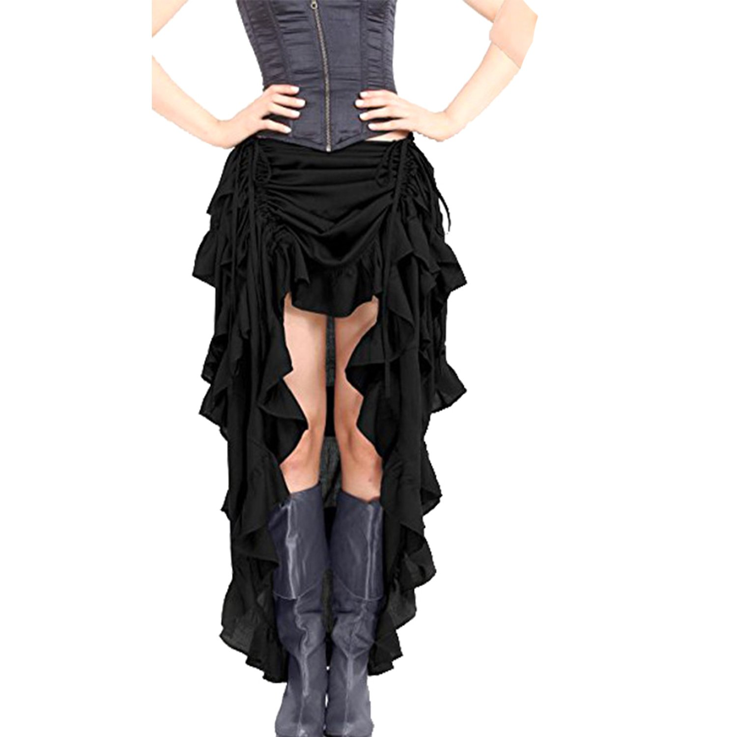 Halloween Gothic Pirate Dress Steampunk Cocktail Party Skirts High-Low (Medium, Black)