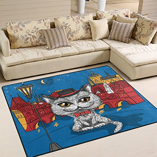 Shag Hat - ALAZA Funny British Cat Hipster in the Black Hat Moon Star Sky Area Rug Rugs for Living Room Bedroom 5'3 x 4'