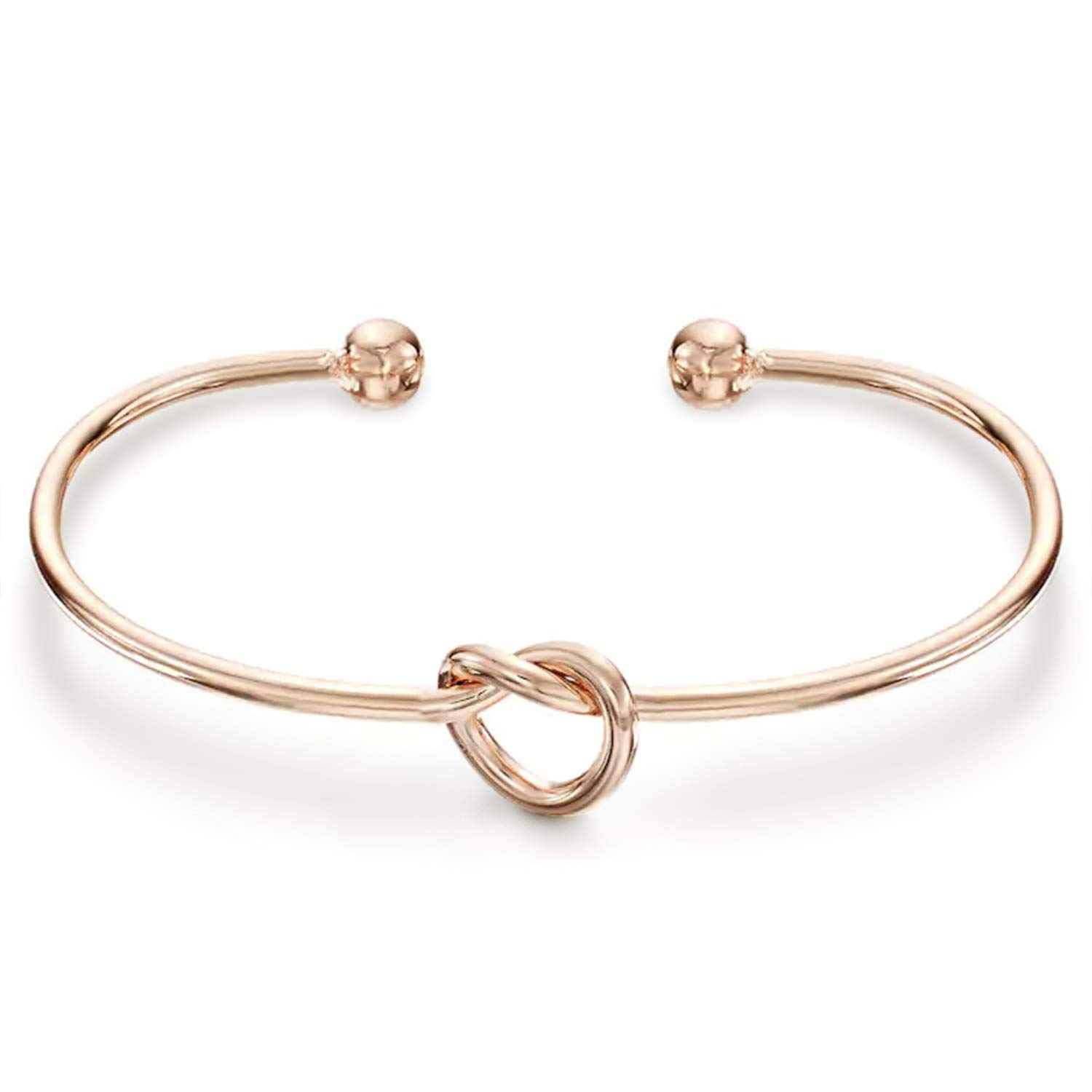 PAVOI 14K Rose Gold Plated Adjustable Infinity Forever Love Knot Bracelet Bangle