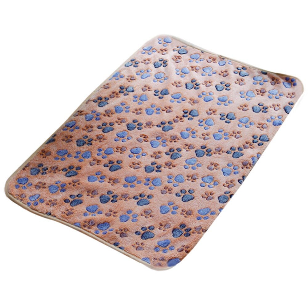 Cute Pet Dog Blanket Warm Paw Print Dog Puppy Fleece Soft Bed Mat Cover Throws Cushion Mat Sleep Pad size M (Brown)