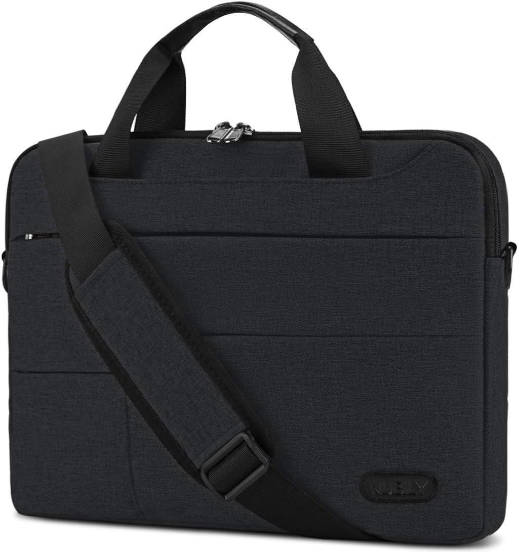 Laptop Bag for Men 15.6 inch Computer Sleeve Carrying Surface Laptop Case Water Repellent Briefcase Work Business Messenger Shoulder Bag Tablet Handle Case for Notebook Black