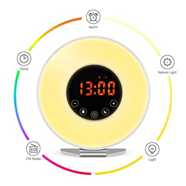 Wake Up Light Alarm Clock, Digital Alarm Clock with Colored Sunrise Simulation, 7 Colors, 6 Nature Sounds, FM Radio, Touch Control for Heavy Sleepers