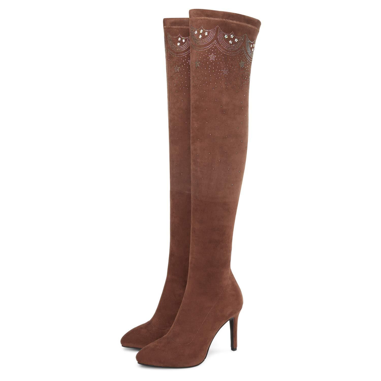 L@YC Frauen Faux Stiefel klobige klobige klobige Herbst wies (Größe 33-39) Langen Abend Wildleder Winter Knie Phantasie b7b26a