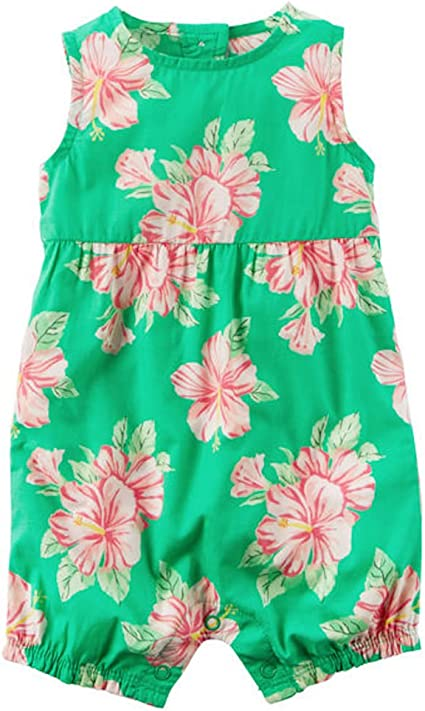 Carters Baby Girls Floral Sleeveless Romper