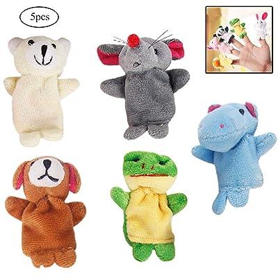 5 marionetas del dedo PCS Animal de la historieta de la felpa de la muñeca Los niños Niños Educativo marionetas de mano de juguete (estilo al azar): Juguetes y juegos