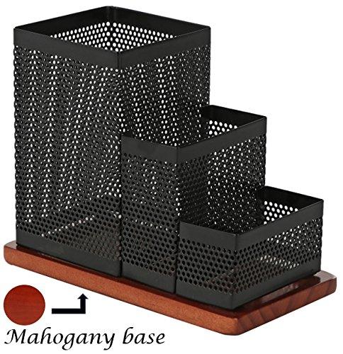 KLEAREX Steel Mesh Desk Supplies Organizer Caddy - Wooden bottom (KLE1BW116)