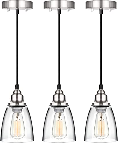 Industrial Mini Pendant Lighting, Clear Glass Shade Hanging Light Fixture, Brushed Nickel, Adjustable Vintage Edison Farmhouse Lamp for Kitchen Island, Restaurants, Hotels and Shops, 3-Pack
