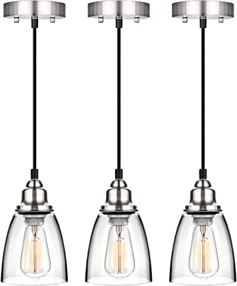 Industrial Mini Pendant Lighting Clear Glass Shade Hanging Light Fixture Brushed Nickel Adjustable Vintage Edison Farmhouse Lamp For Kitchen