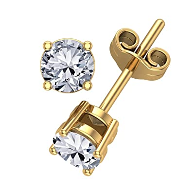 d7dad7eed Amazon.com: 0.50 carat total weight Diamond Stud Earrings 14k Yellow Gold-4  Prong Basket Style Friction Push Back Posts (G-H I1-I2) Eyeclean: Jewelry